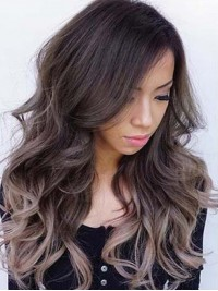 Two Colors Ombre Long Wavy Lace Front Human Hair Wig