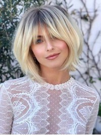 Ombre Short Straight Human Wigs