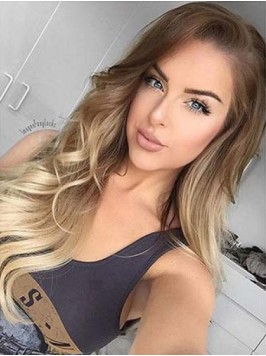 Long Two Colors Ombre Lace Front Human Hair Wig