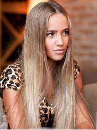 Two Colors Ombre Long Full Lace Human Hair Wig