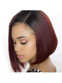 Claret Short Straight Lace Front Wigs With Baby Hair