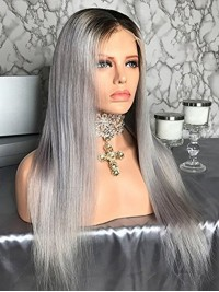 Ombre Long Grey Straight Lace Front Human Wigs