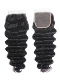 Deep Wave Wave Human Hair Lace Closure On Sale