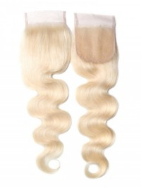 613 Blonde Human Hair Body Wave Blonde Hair 4X4 Lace Closure