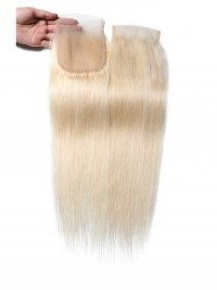 613 Blonde 4x4 Straight Virgin Human Hair Lace Closure Free Part