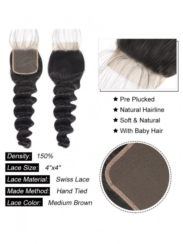 Brazilian Human Hair Loose Deep Wave 4x4 Lace Closure 1pc