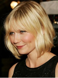 Blonde Bob Style Short Wavy Capless Synthetic Wig With Bangs 10 Inches