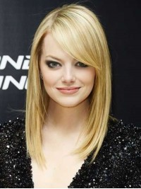 Emma Stone Blonde Long Straight Lace Front Synthetic Wig With Side Bangs 16 Inches