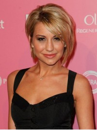 Layered Short Blonde Straight Synthetic Capless Wig With Side Bangs 8 Inches