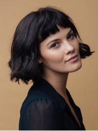 Bob Style Short Wavy Capless Human Hair Wigs With Bangs 10 Inches