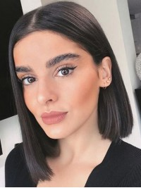 Bob Style Central Parting Short Straight Lace Front Human Hair Wigs 12 Inches