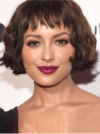 Bob Style Short Wavy Capless Human Hair Wigs With Bangs 8 Inches