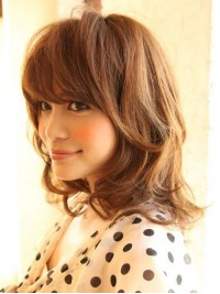 Layered Medium Wavy Capless Human Hair Wigs With Bangs 14 Inches