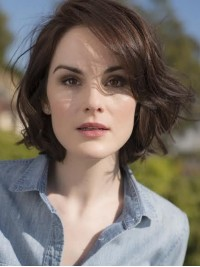 Bob Style Short Wavy Capless Human Hair Wigs With Side Bangs 12 Inches
