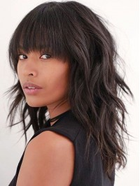 Layered Long Wavy Capless Human Hair Wigs With Bangs 16 Inches