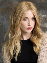 Central Parting Long Wavy Blonde Lace Front Human Hair Wigs 18 Inches