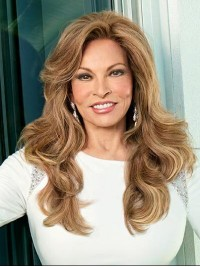 Long Wavy Brown Monofilament Human Hair Wig 20 Inches