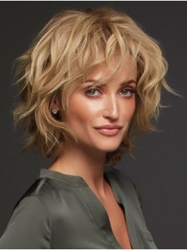 Layered Blonde Short Curly Full Lace Human Hair Wi...