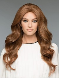 Central Parting Long Wavy Full Lace Human Hair Wigs 24 Inches