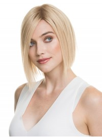 Bob Style Short Straight Blonde Lace Front Hair Wigs With Side Bangs 10 Inches