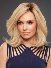 Medium Wavy Lace Front Blonde Human Hair Wigs With Side Bangs 14 Inches