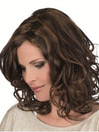 Monofilament Shoulder Length Brown Wavy Human Hair Wigs 14 Inches