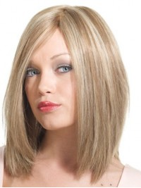 Mid-Length Monofilament Blonde Straight Remy Human Wigs With Side Bangs 14 Inches