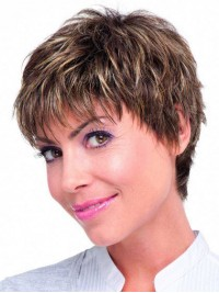 Monofilament Boy Cut Two-Tones Straight Short Human Hair Wigs With Bangs 8 Inches