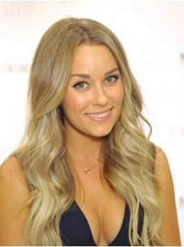 Central Parting Long Blonde Wavy Full Lace Human H...