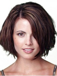 Bob Style Short Straight Lace Front Remy Human Wigs With Side Bangs 10 Inches