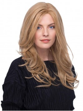 Central Parting Blonde Wavy Long Lace Front Human ...