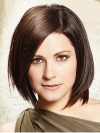 Bob Style Short Lace Front Brown Straight Remy Human Wigs With Side Bangs 12 Inches