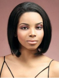 Bob Style Lace Front Black Straight Short Human Hair Wigs With Side Bangs 12 Inches