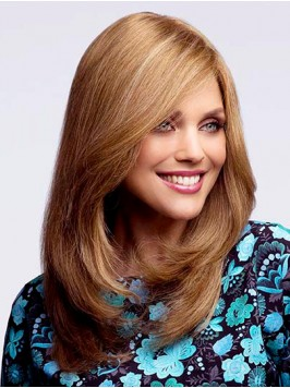 Blonde Straight Long Capless Human Hair Wigs With ...