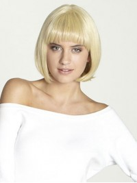 Bob Style Blonde Straight Short Human Hair Full Lace Wigs With Bangs 10 Inches