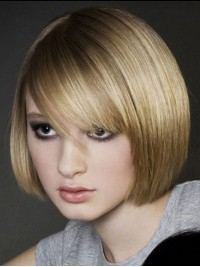 Bob Style Short Blonde Straight Human Hair Capless Wigs 10 Inches