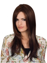 Long Lace Front Brown Straight Human Hair Wigs With Side Bangs 24 Inches