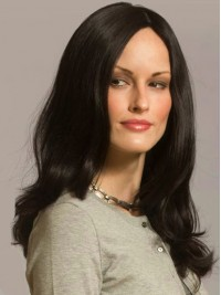 Central Parting Long Wavy Black Human Hair Capless Wigs 20 Inches