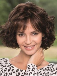 Bob Style Brown Wavy Remy Human Lace Front Wigs With Bangs 12 Inches