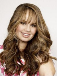 Long Lace Front Brown Wavy Human Hair Wigs With Bangs 24 Inches