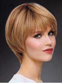 Full Lace Blonde Short Straight Bob Human Hair Wigs
