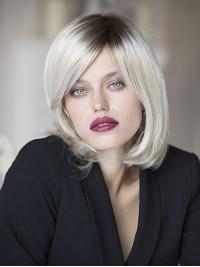 Bob Style Ombre Straight Synthetic Short Capless Wigs With Side Bangs 12 Inches