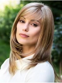 Layered Medium Blonde Straight Synthetic Capless Wigs With Bangs 14 Inches
