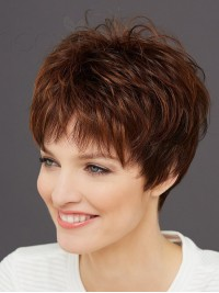 Brown Short Straight Boy Cut Synthetic Capless Wigs With Bangs 8 Inches
